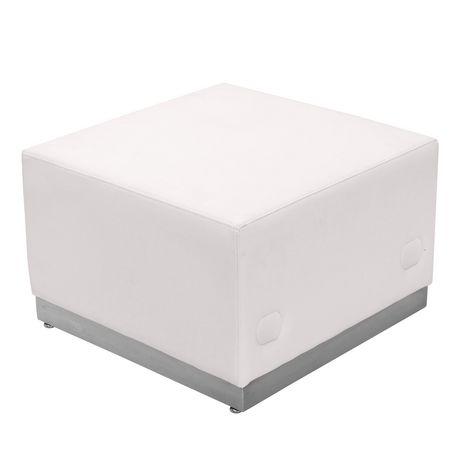 Pouf en cuir blanc Melrose de la série HERCULES Alon avec base en acier inoxydable brossé - image 1 de 1