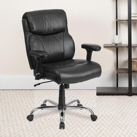 Chaise de travail Big & Tall pivotante en cuir noir de la série HERCULES pour supporter jusqu'à 400 lb avec piquage en lignes bien dessinées et appuis-bras - image 2 de 4