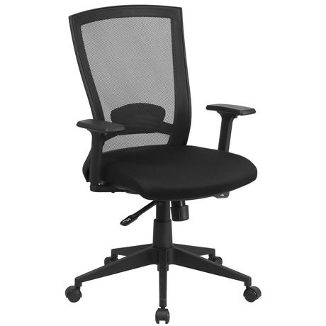 Mid-Back Black Mesh Executive Swivel Ergonomic Office Chair with Back Angle Adjustment and Adjustable Arms - image 1 of 4