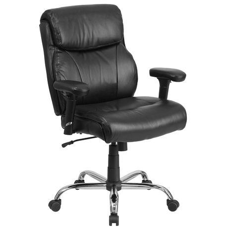 Chaise de travail Big & Tall pivotante en cuir noir de la série HERCULES pour supporter jusqu'à 400 lb avec piquage en lignes bien dessinées et appuis-bras - image 1 de 4