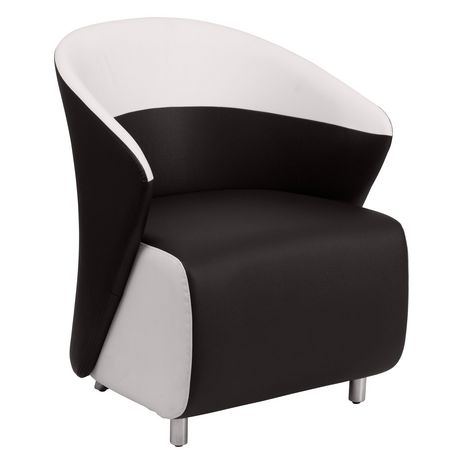 Black Leather Curved Barrel Back Lounge Chair With Melrose