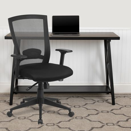 Mid-Back Black Mesh Executive Swivel Ergonomic Office Chair with Back Angle Adjustment and Adjustable Arms - image 2 of 4