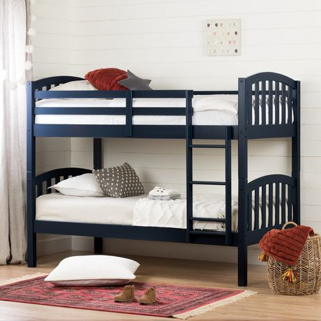 South Shore Summer Breeze Solid Wood Bunk Beds Navy Blue