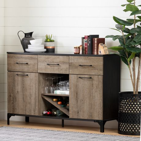 Tremendous South Shore Valet Buffet With Wine Storage Weathered Oak And Ebony Home Interior And Landscaping Fragforummapetitesourisinfo