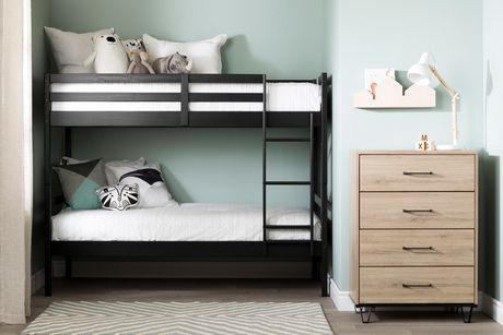 South Shore Fakto Solid Wood Bunk Beds, Matte Black - image 2 of 6