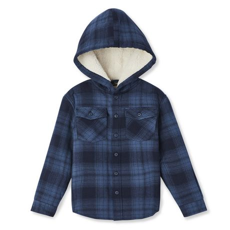 George Boys' Sherpa Lined Hooded Flannel Shirt - image 1 of 2
