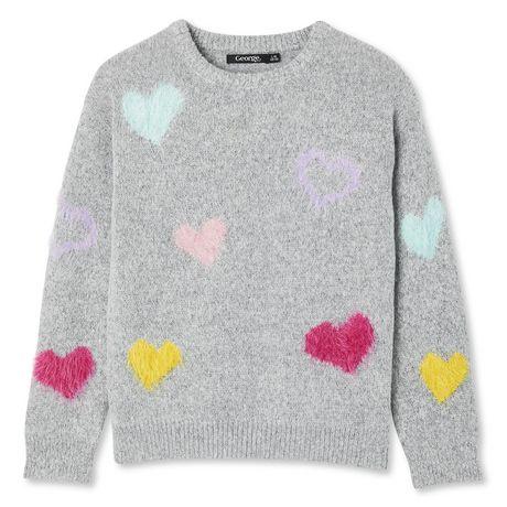 George Girls' Eyelash Heart Sweater - image 1 of 2