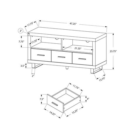 Monarch Specialties Natural Reclaimed-Look TV Console with 3 Drawers - image 2 of 2