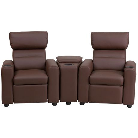 Kid S Black Leather Reclining Theater Seating With Storage