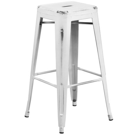 Fantastic 30 High Backless Distressed White Metal Indoor Outdoor Spiritservingveterans Wood Chair Design Ideas Spiritservingveteransorg