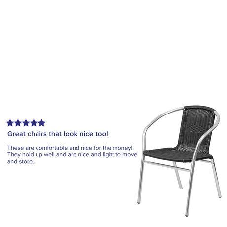Chaise de restaurant empilable commerciale pour l'intérieur et l'extérieur en aluminium et rotin noir