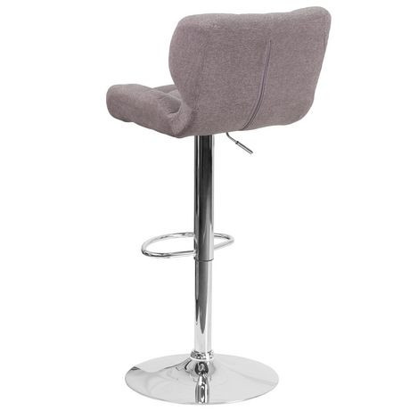 Contemporary Tufted Gray Fabric Adjustable Height Barstool with Chrome Base - image 3 of 4