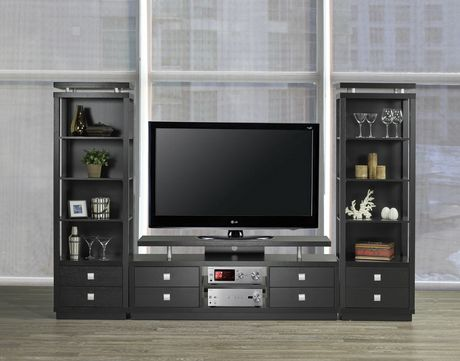 brassex inc brassex 66 tv stand with storage black - Entertainment Centres And Tv Stands