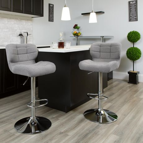 Contemporary Tufted Gray Fabric Adjustable Height Barstool with Chrome Base - image 2 of 4