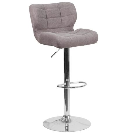Contemporary Tufted Gray Fabric Adjustable Height Barstool with Chrome Base - image 1 of 4