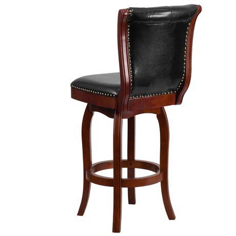Tabouret de bar en bois de cerisier de 30 po haut. avec dossier touffeté à bouton et siège pivotant en cuir noir - image 4 de 4