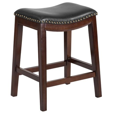 Phenomenal 26 High Backless Cappuccino Wood Counter Height Stool With Black Leather Saddle Seat Evergreenethics Interior Chair Design Evergreenethicsorg