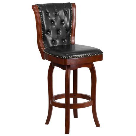 Tabouret de bar en bois de cerisier de 30 po haut. avec dossier touffeté à bouton et siège pivotant en cuir noir - image 1 de 4