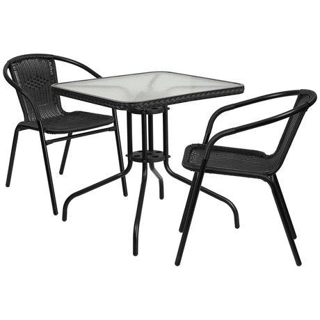 Table carrée 28 po en verre et métal avec bordure en rotin noir et 2 chaises empilables en rotin noir - image 1 de 1