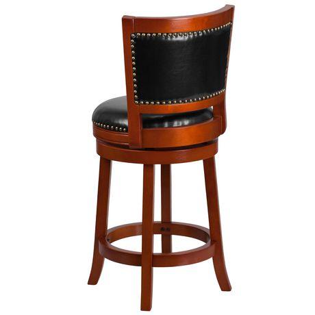 Tabouret à hauteur de comptoir en bois de cerisier clair de 26 po haut. avec dossier ouvert et siège pivotant en cuir noir - image 4 de 4
