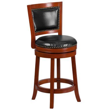 Tabouret à hauteur de comptoir en bois de cerisier clair de 26 po haut. avec dossier ouvert et siège pivotant en cuir noir - image 1 de 4