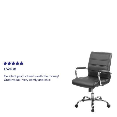 Chaise exécutive pivotante en cuir noir à dossier mi-hauteur avec base chromée et appui-bras - image 5 de 6