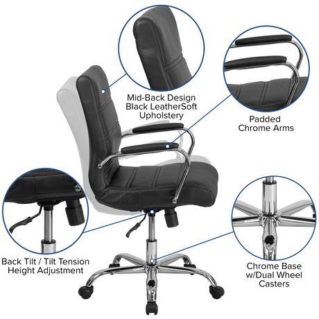 Chaise exécutive pivotante en cuir noir à dossier mi-hauteur avec base chromée et appui-bras - image 6 de 6