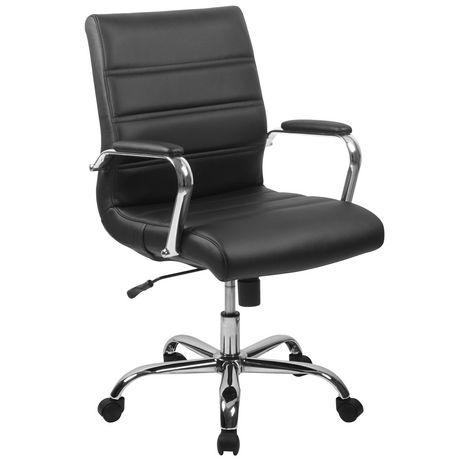Chaise exécutive pivotante en cuir noir à dossier mi-hauteur avec base chromée et appui-bras - image 1 de 6