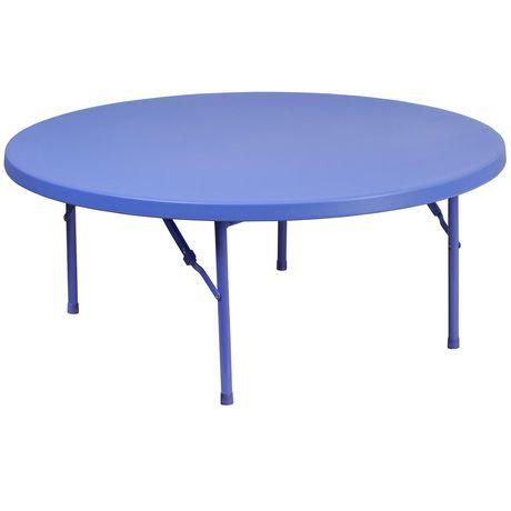 Table pliante ronde en plastique bleue de 48 pouces - image 1 de 3