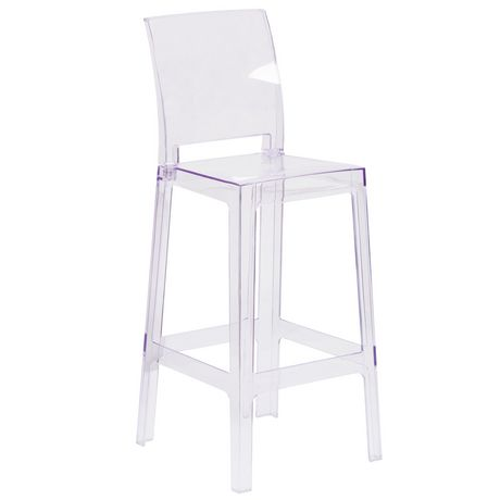 Ghost Barstool with Square Back in Transparent Crystal - image 1 of 4