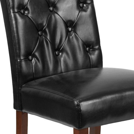 HERCULES Grove Park Series Black Leather Tufted Parsons Chair - image 4 of 6