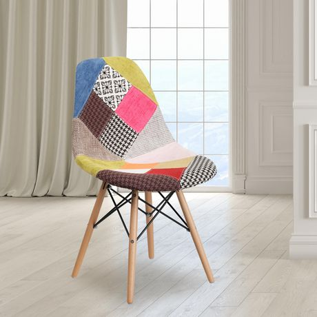 Elon Series Milan Patchwork Fabric Chair with Wooden Legs - image 2 of 4