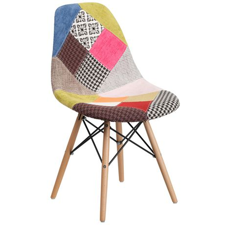 Elon Series Milan Patchwork Fabric Chair with Wooden Legs - image 1 of 4