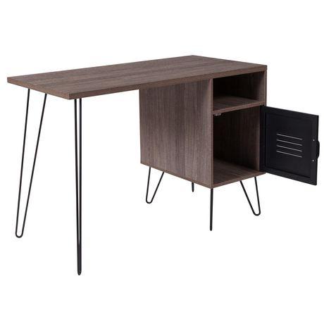 Bureau d'ordinateur de la collection Woodridge avec une finition à grain de bois rustique, une porte d'armoire en métal et pieds en métal noir - image 5 de 5