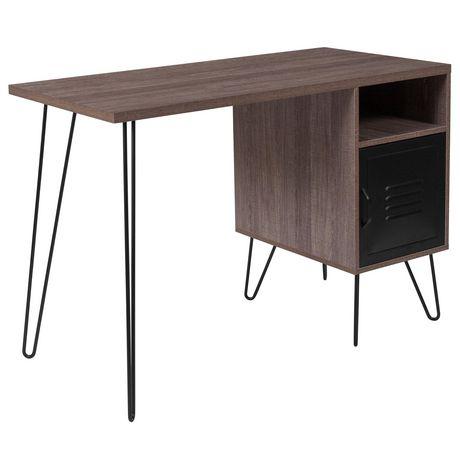 Bureau d'ordinateur de la collection Woodridge avec une finition à grain de bois rustique, une porte d'armoire en métal et pieds en métal noir - image 1 de 5