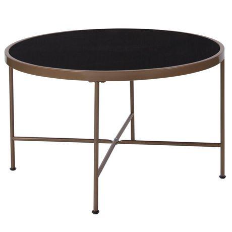 Table basse de la Collection Chelsea en verre noir avec cadre en or matte - image 1 de 2
