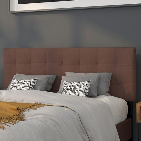 Tête de lit Bedford grand touffetée et rembourrée en tissu brun foncé - image 2 de 2