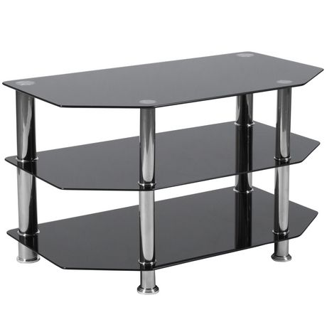 North Beach Black Glass TV Stand with Stainless Steel Metal Frame - image 1 of 2