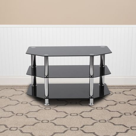 North Beach Black Glass TV Stand with Stainless Steel Metal Frame - image 2 of 2