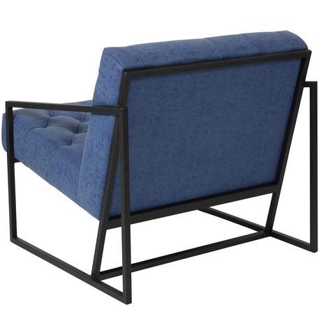 HERCULES Madison Series Retro Blue Leather Tufted Lounge Chair - image 4 of 4