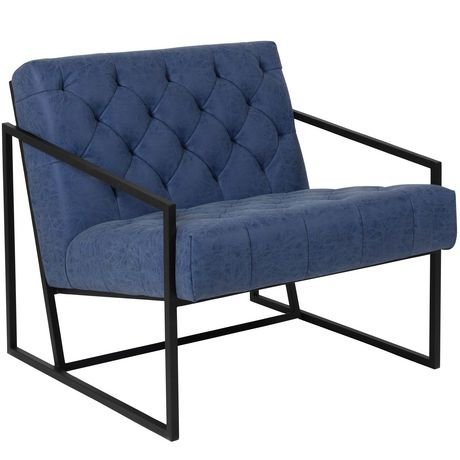 HERCULES Madison Series Retro Blue Leather Tufted Lounge Chair - image 1 of 4