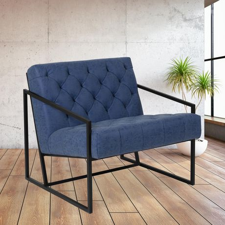HERCULES Madison Series Retro Blue Leather Tufted Lounge Chair - image 2 of 4