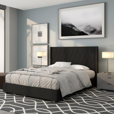 Riverdale King Size Tufted Upholstered Platform Bed in Beige Fabric - image 2 of 3