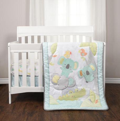ensemble de 3 pi ces pour lit de b b gazouillis de la jungle walmart canada. Black Bedroom Furniture Sets. Home Design Ideas