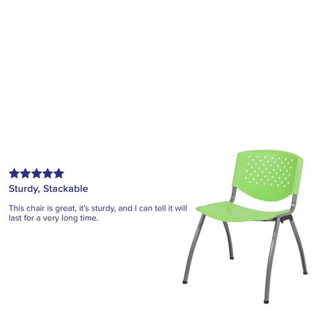 HERCULES Series 880 lb. Capacity Green Plastic Stack Chair with Titanium Frame - image 4 of 4