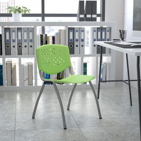 HERCULES Series 880 lb. Capacity Green Plastic Stack Chair with Titanium Frame - image 2 of 4