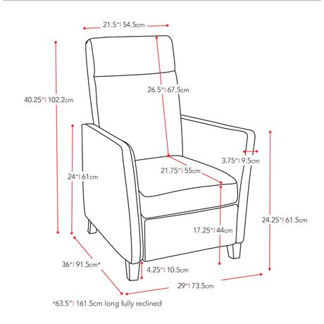 CorLiving Elise Red Bonded Leather Recliner - image 5 of 5