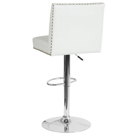 Ravello Contemporary Adjustable Height Barstool with Accent Nail Trim in Beige Fabric - image 4 of 4