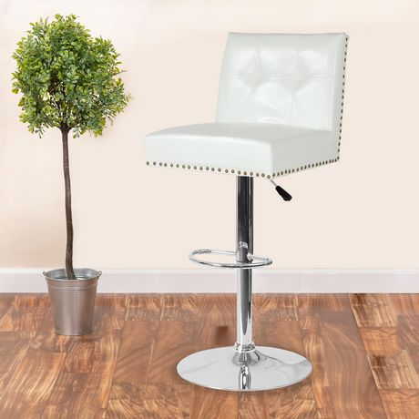 Ravello Contemporary Adjustable Height Barstool with Accent Nail Trim in Beige Fabric - image 2 of 4