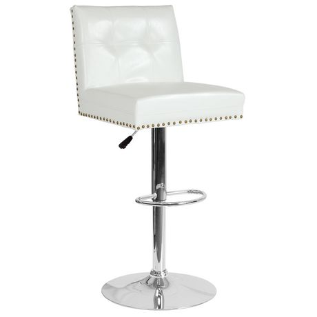 Ravello Contemporary Adjustable Height Barstool with Accent Nail Trim in Beige Fabric - image 1 of 4